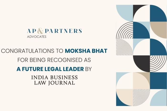 Our partner, Moksha Bhat recognized as a Future Legal Leader by IBLJ