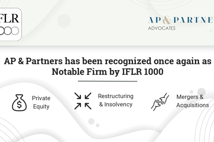 AP & Partners have been recognized once again as a notable firm by IFLR1000